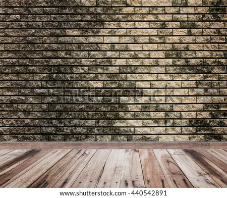 brick wall background texture and wood floor - stock photo