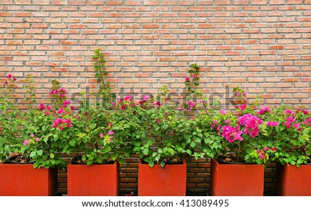 Brick wall background with flower in pot - stock photo