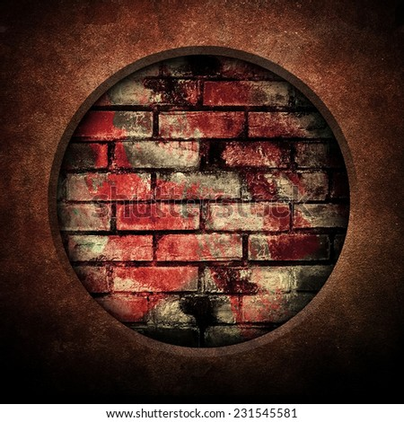 brick wall background with hole  - stock photo