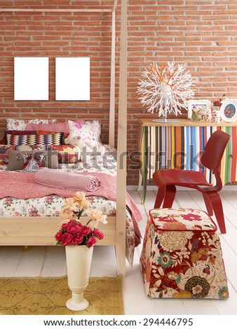 brick wall bedroom interior and red chair - stock photo
