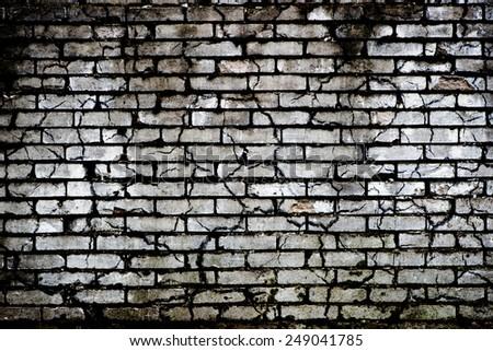 brick wall - black & white background - stock photo