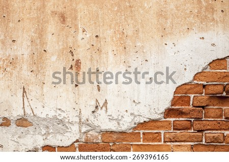 brick wall broken in Background - stock photo