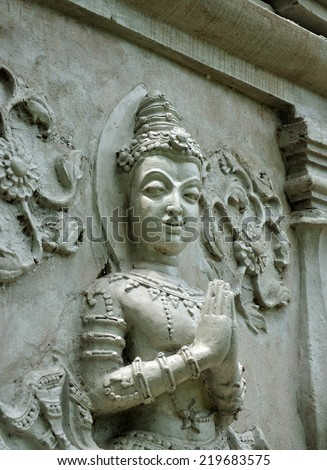 brick wall decorate about Buddha's biography in temple wall, thailand - stock photo