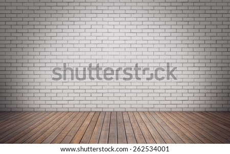 Brick wall empty room with wooden floor. 3D Rendering - stock photo
