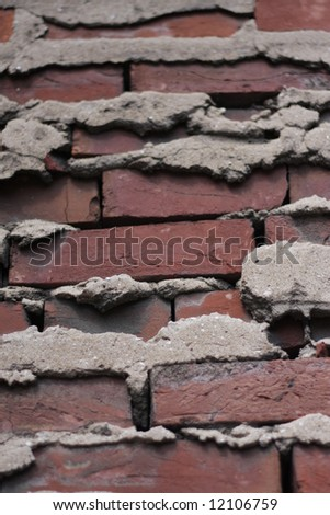 Brick wall. Focus is in middle of shot. Good for background. - stock photo