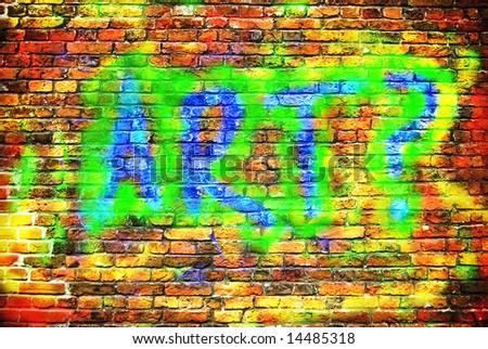 brick wall graffiti or art concept - stock photo