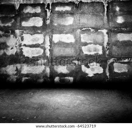 brick wall grunge room - stock photo
