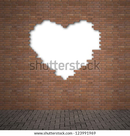 brick wall-Heart - stock photo