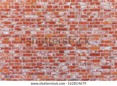 Brick wall in red color - stock photo