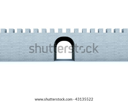 Brick wall isolated on white - stock photo
