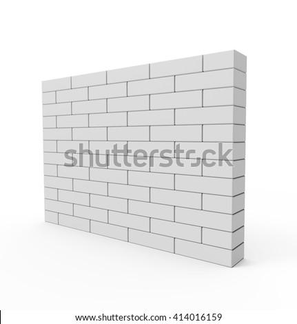 Brick Wall isolated on white background. 3D illustration - stock photo