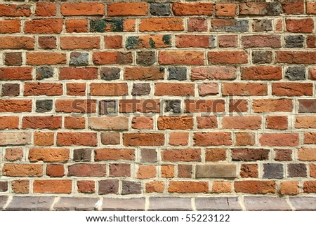 Brick wall of a gothic church - stock photo