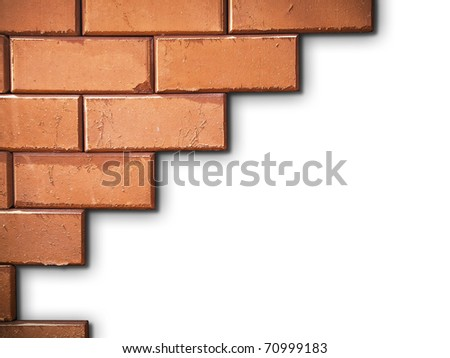Brick wall on white background - stock photo