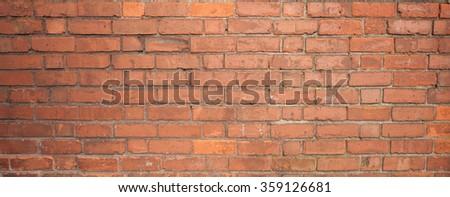 Brick wall panorama stiched horizontally with Canon 24 TSE II - stock photo