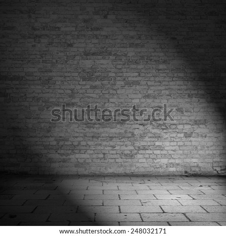 brick wall texture background abandoned house interior, black and white - stock photo