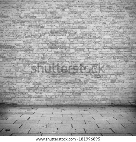 brick wall texture black and white sidewalk abandoned building urban background to interior design