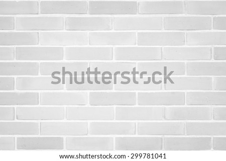 Brick wall texture pattern background in natural light white grey color tone: Masonry brick work wall detail textured backdrop   - stock photo