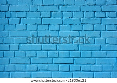 Brick wall. The brick wall painted in blue. - stock photo