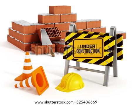 Brick wall under construction isolated on white background. - stock photo