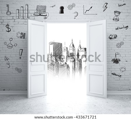 Brick wall with business sketches and open door revealing architectural drawing. 3D Rendering - stock photo
