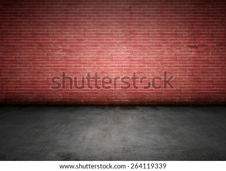Brick wall with dirty stains, cracks, grungy lighting and shadows. Lots of copy space, perfect for design background. - stock photo