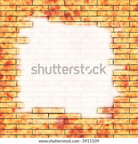 Brick wall with graffiti - stock photo