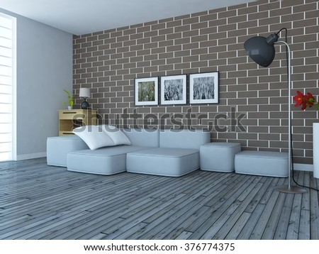 brick wall with grey sofa. 3d concept