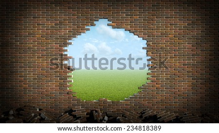 brick wall with hole - stock photo