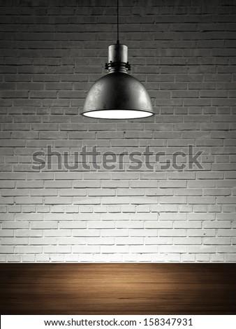 brick wall with lamp - stock photo