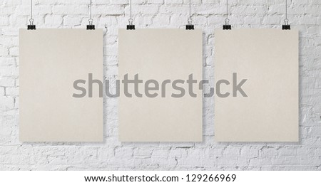 brick wall with tree poster - stock photo