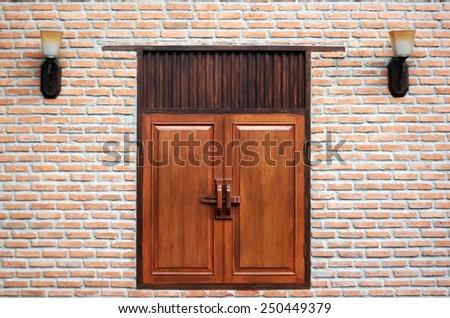 brick wall with window oriental style - stock photo