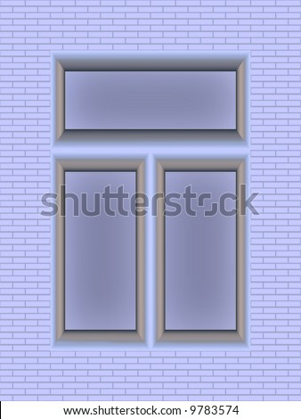 brick-wall with window, seamlessly repeat pattern