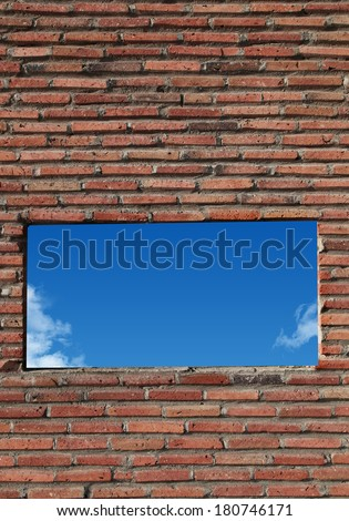 brick wall with window sky - stock photo
