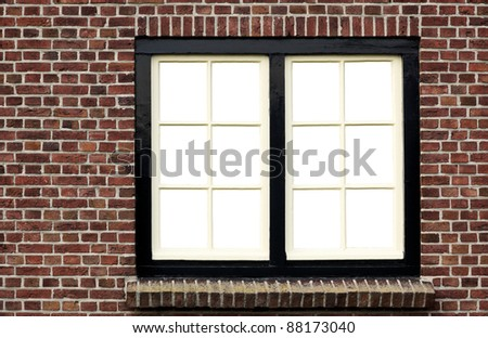 Brick wall with window, view has been removed - stock photo