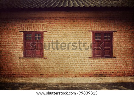 Brick Wall with Window,Vintage style - stock photo