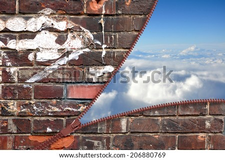 Brick wall with zipper and blue sky concept - stock photo