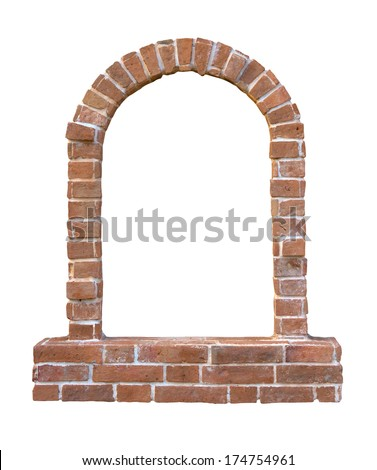 Brick window as a frame, isolated on white background - stock photo