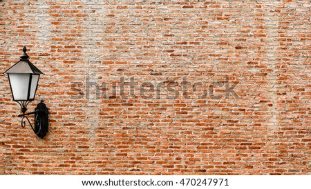 Brick with the lamp for background