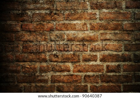 Bricked textured wall background - stock photo
