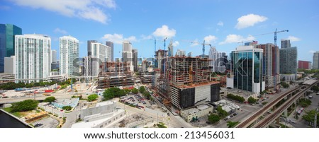 BRICKELL - AUGUST 26: Panoramic image of Brickell including Brickell City Center which is to be completed in late 2015 August 26, 2014 in Brickell USA.  - stock photo