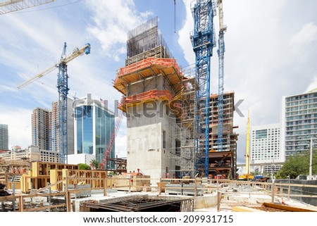 BRICKELL - JULY 15: Stock image of Brickell City Center which will be a mixed use residential and commercial development to be completed in 2015 July 15, 2014 in Brickell USA - stock photo