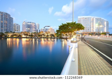 Brickell Key and Brickell Key Drive, Miami, Florida, USA - stock photo