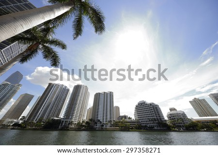 Brickell Key Miami FL landscape image - stock photo