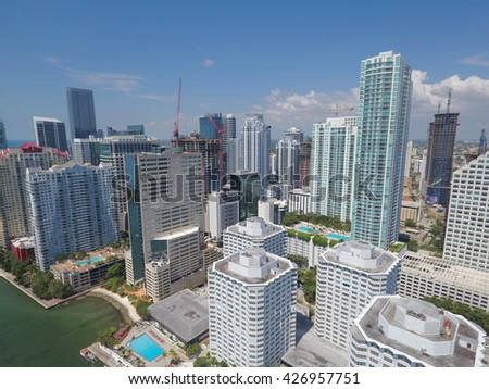BRICKELL - MARCH 15: Aerial photo of Brickell and Downtown Miami shot with an aerial drone March 15, 2016 in Miami FL, USA - stock photo