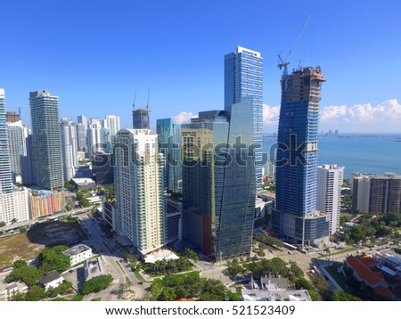 BRICKELL - NOVEMBER 15: Aerial image of skyscrapers along Brickell Avenue which is a metro area south of Downtown Miami November 15, 2016 in Brickell FL, USA