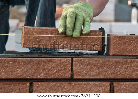 Bricklayer at work