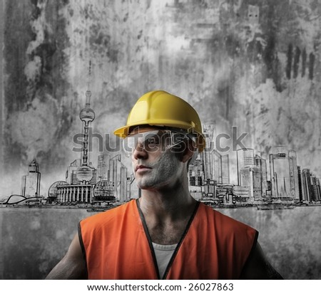 bricklayer on a cityscape illustration background - stock photo