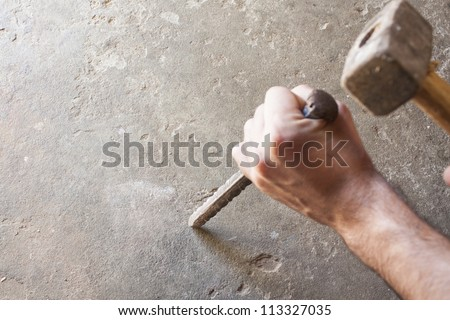 bricklayer tools men working  ,construction background - stock photo