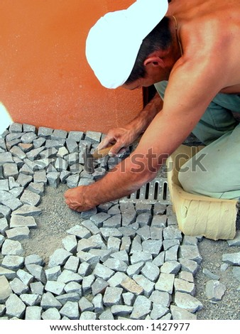 bricklayer working - stock photo