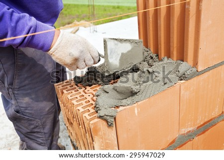 Bricklayer working